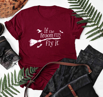if the broon fits fly it Graphic T-Shirt Funny Letter Casual Witch Halloween Shirts Tumblr Grunge Hipster Witch quote art Tops image