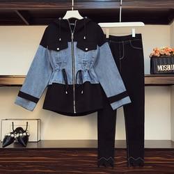 Conjunto de moda de talla grande para mujer, chaqueta vaquera con personalidad informal, top y leggings, traje de dos piezas, L-4XL de tela, otoño 2020