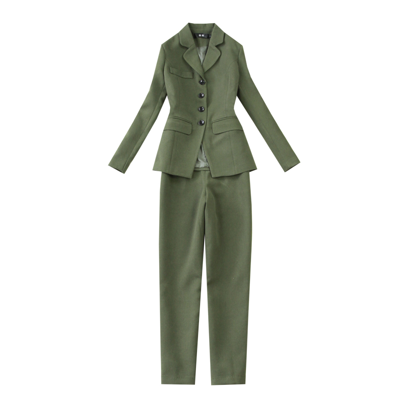 Casual Long Sleeve Women's Suit High Quality Single-breasted Military Green Blazer Elegant Pants Suit Female Two-piece Set 2019