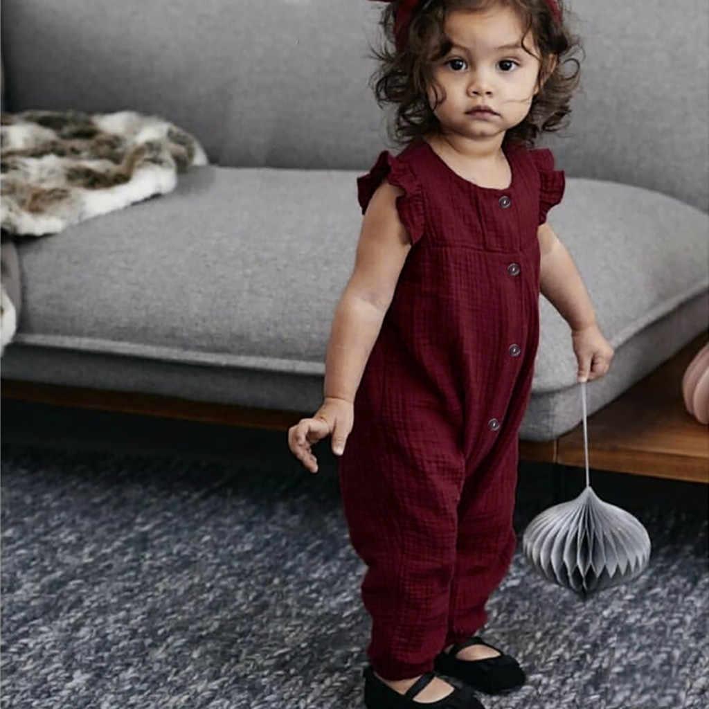 Baumwolle Leinen Babyspielanzug Sommer Kleinkind Kinder Jungen & mädchen Fliegen Ärmel Rüschen Kostüm Solide Botton Overall Baby Mädchen Romper 2020
