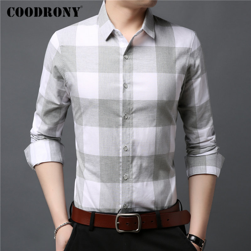COODRONY Brand Men Shirt 2019 New Arrival Fashion Casual Shirts Long Sleeve Pure Cotton Shirt Men Plaid Camisa Masculina 96083