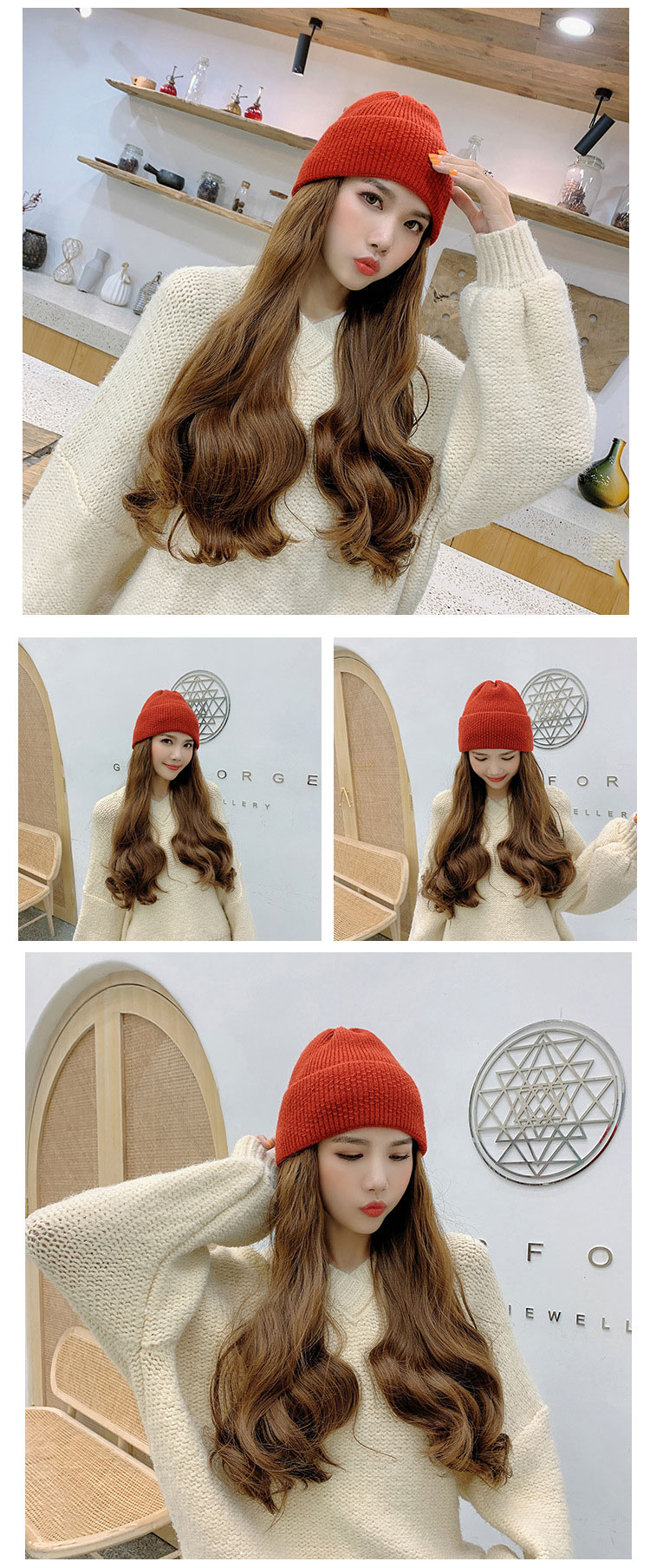Fashion Wig Knitted Hat