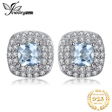 JewelryPalace Cushion Cut 0.9ct Natural Aquamarine Halo Stud Earrings 925 Sterling Silver For Women 2017 Fine Jewelry