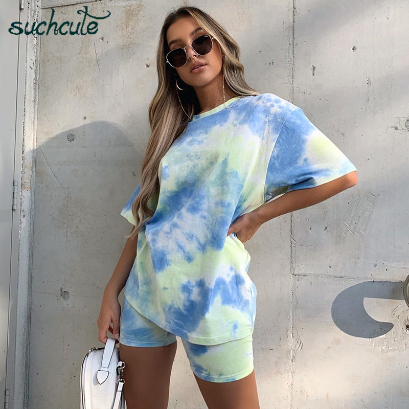 SUCHCUTE Tie Dye Women Two Pieces Sets Short And Cropped Tops 2020 Tracksuit Loose Femlae Casual Sporty Biker Shorts Playsuits