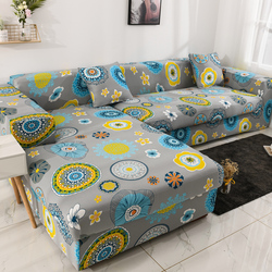 Printed Sofa Cover Elastic Chaise Lounge Living Room 1 2 3 4 Seater Adjustable Protective L Shape Couch Cover