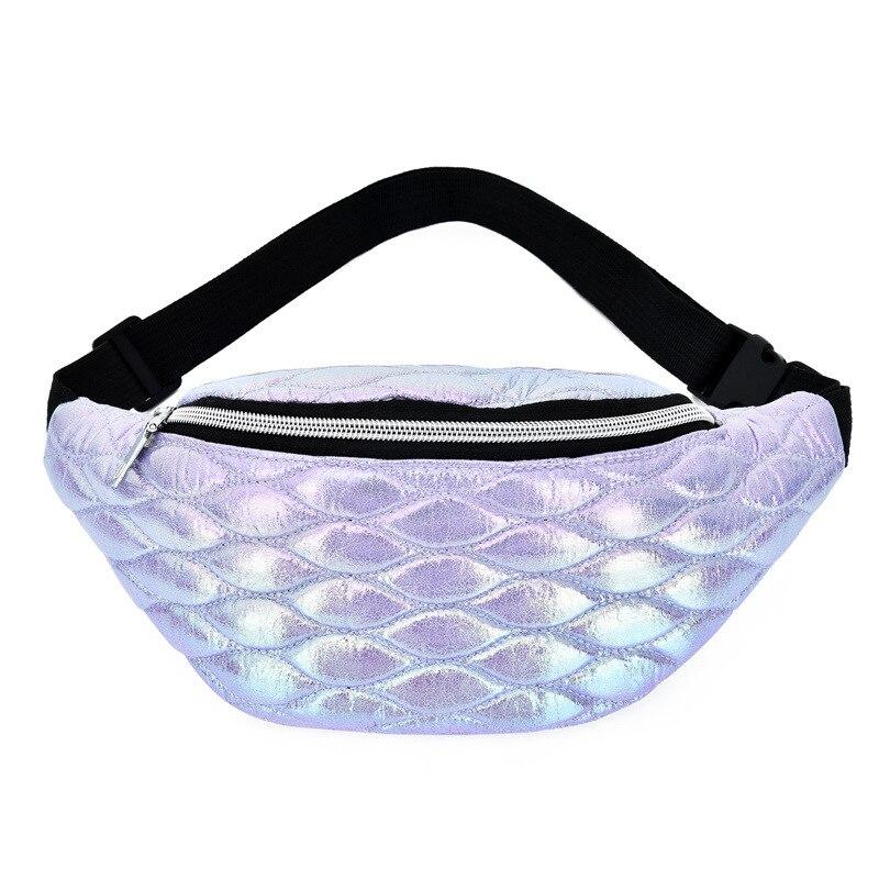 Linger Fanny Pack Holographic Fashion Belt Bag Banana Waist Bag Reflective Laser Shoulder Bag Waist Bag Pochete Women's Belt Bag