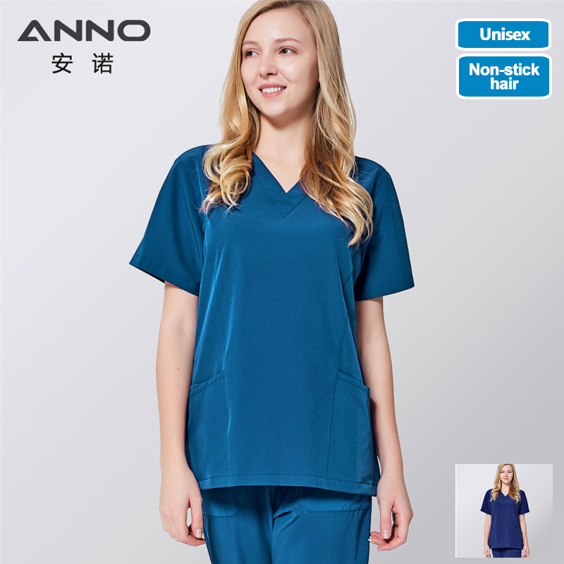 ANNO Medical Clothes Scrub Set Hospital Nursing Uniform For Women Men Clinical Gown Surgical Suit With Four Sided Elastic Fabric