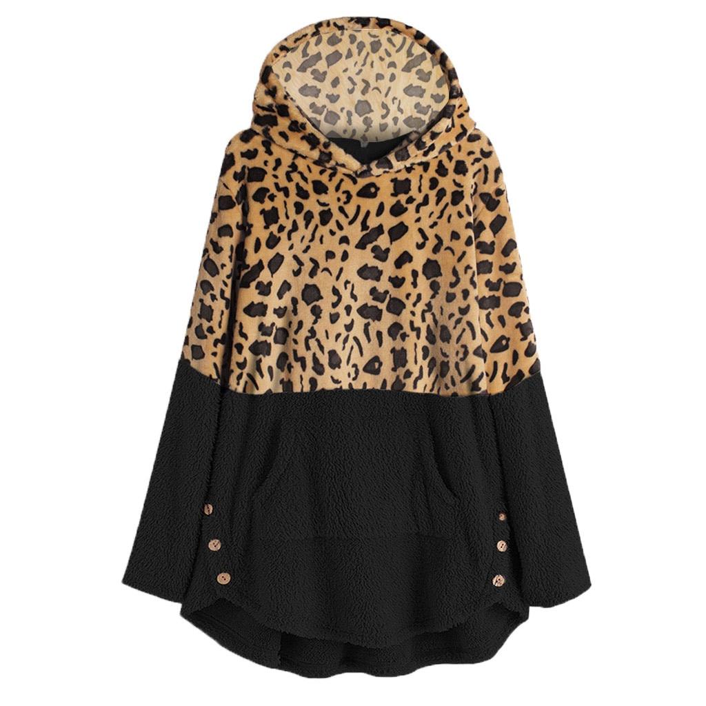2020 Women Leopard Hoodies Sweatshirt Winter Fleece Long Sleeves Plus Size Casual Tops Oversized Hoodie Pullover Sudadera Mujer