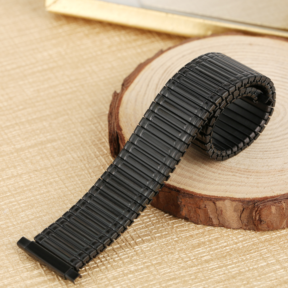 Replacement Stainless Steel Watch Strap Silver Black Gold Elastic Watches Band 16/18/20/22MM Solid Metal Wristwatch Strap image