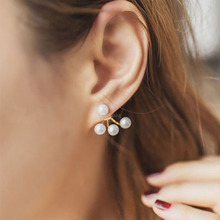 Fashion Women's Earrings Simulated Pearl Statement Stud Earrings Ear Clips For Women Geometry Jewelry Party Gift Wholesale WD650 цена