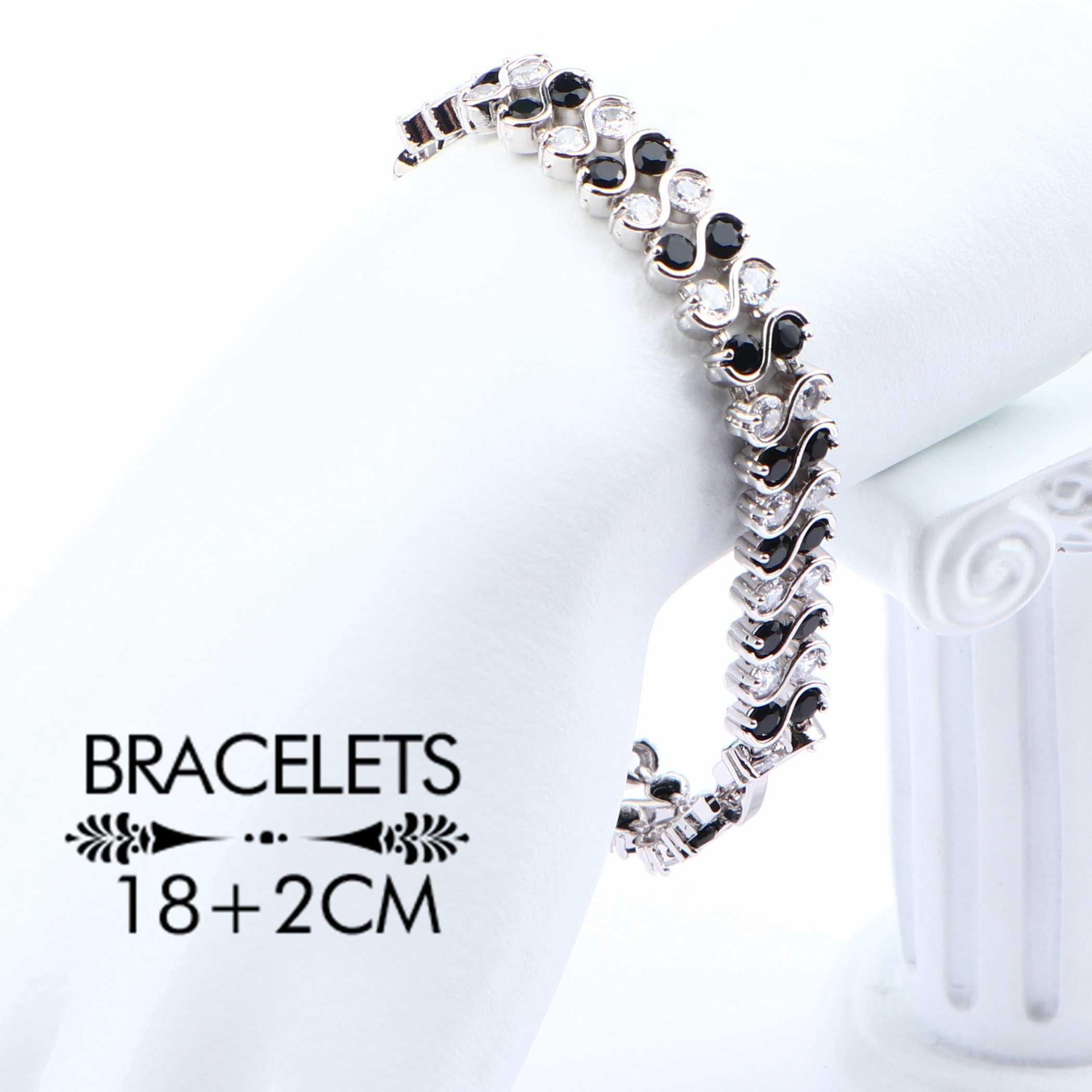 מעוקב Zirconia כלה תכשיטי סטים לנשים תלבושות כסף 925 חתונת שרשרת סטי לבן & שחור טבעת עגילי תליון צמיד