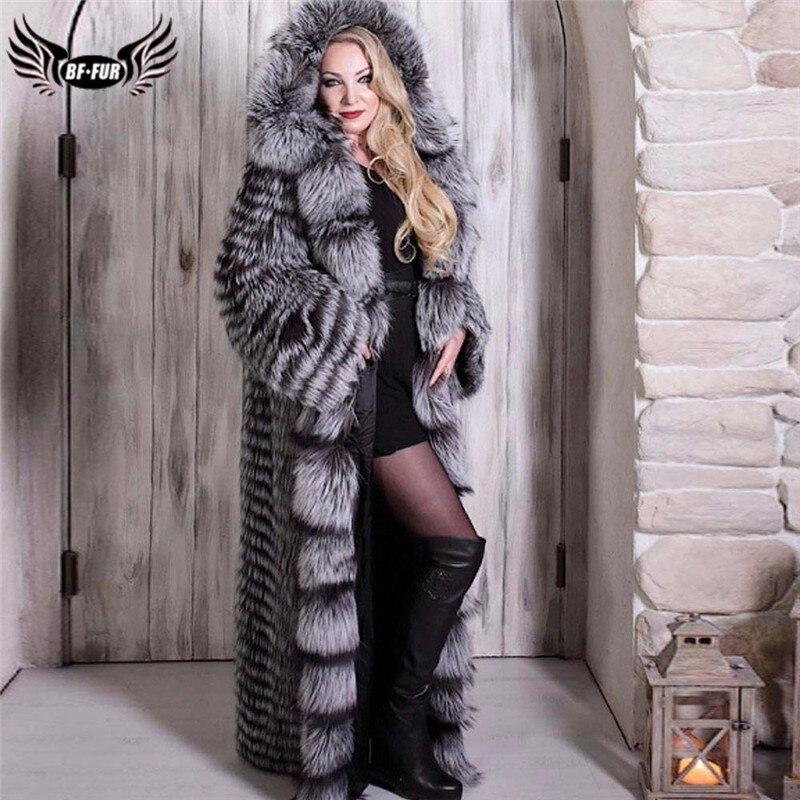 Luxury Genuine Sliver Fox Fur Coat With Big Hood Wholeskin Genuine Fox Fur Jacket 130cm X-Long Women Fur Coats Winter Outwear