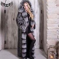 Luxury Genuine Sliver Fox Fur Coat With Big Hood Wholeskin Genuine Fox Fur Jacket 130cm X Long Women Fur Coats Winter Outwear