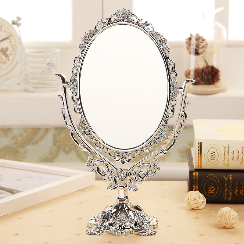 Dropshipping New Vintage Makeup Mirror Desktop Rotatable Mirror With Butterfly Rose Vines Decor Tool SMJ