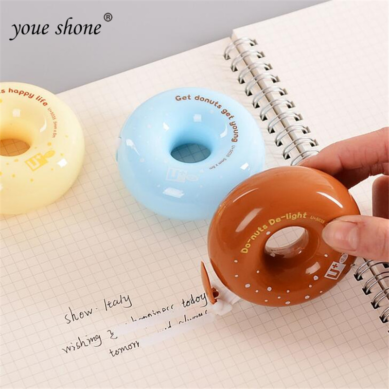 1pcs Small Doughnut Correction Belt Fresh Candy Color Office Correction With Small Beginners Altered With Stationery