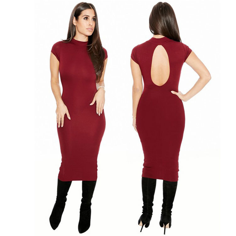<font><b>EBay</b></font> Hot Selling Europe And America WOMEN'S Dress Solid Color Sexy Nightclub Backless Dress image