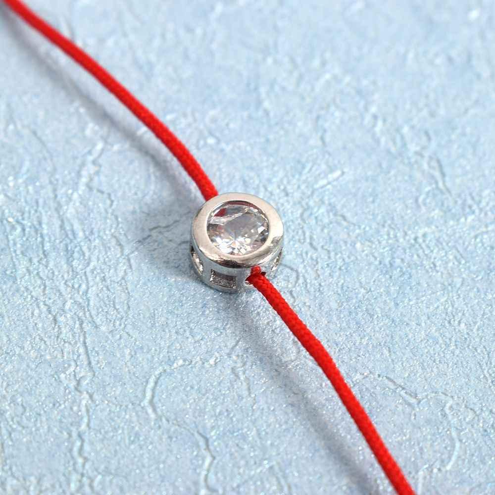 اليدوية لامعة مستديرة الراين بلورات صغيرة مكعب سوار الزركون محظوظ الأحمر سلسلة حبل الموضوع أساور مجدولة للنساء