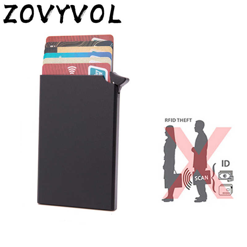 ZOVYVOL Credit Card Holder Automatically eject Solid Color Metal Bank Credit Card Package Business Card Holder Case Cartridge