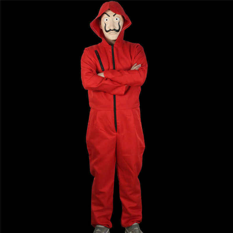Cadılar bayramı kostümleri adam Kağıt Ev ABD Salvador Dali Para Heist Kırmızı Tulum Maskesi Kostüm Cosplay
