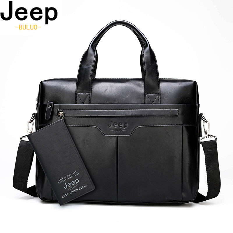 JEEP BULUO Brand Men Business Leather Handbag Large Capacity Office Briefcase Bag For Man Travel Shoulder Bags 14inch Laptop New