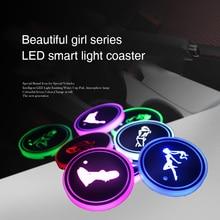 Light-Mats Coasters Cup-Holder Atmosphere-Light Bottle Automotive Interior Series Girl
