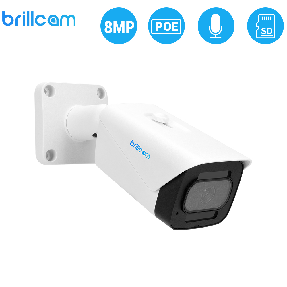 Brillcam POE IP Camera 8MP 4K AI Microphone SD Slot Outdoor Waterproof Night Vision Cam Indoor Home Security Surveillance