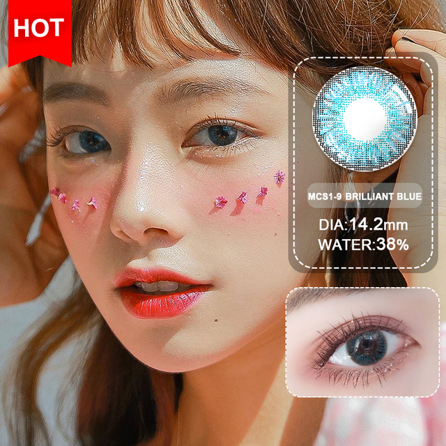 Blue Contacts 2020 NEW HIDIROCOR Two Piece Colored Contacts beautiful pupil color contact lenses contact lenses for eyes color 5