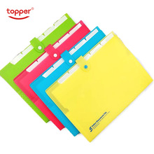 6 pckets PP folder Elastic Closure Folder Expanding wallet Simple Style File Folder Office Shool filing products A4 file bag