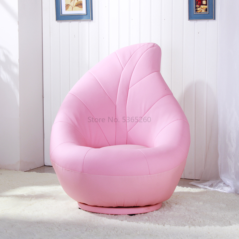 Pink Leaf Sofa Small Baby Sofa Lazy People Art Originality Small-scale Rotate Chair Children Bedroom Zitzak Bean Bag