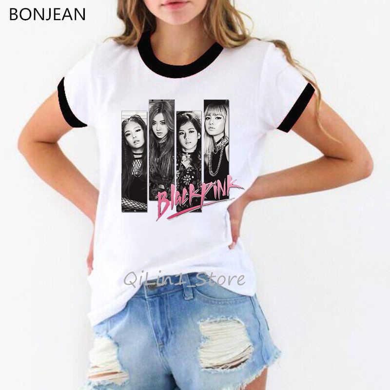 K-pop blackpink 죽여이 사랑 t 셔츠 여성 kpop 옷 여성 흰색 ringer 티 셔츠 femme streetwear 90s 사용자 정의 tshirt 탑스
