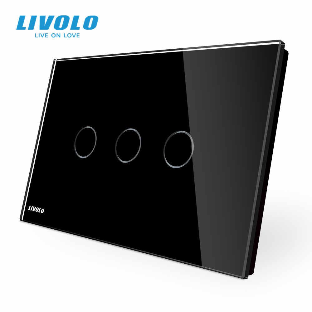 Verre Touch Interrupteur comm pour 3 circuits vl-c303-12 Noir