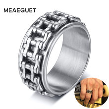 Hop Men Ring Motorcycle Biker Bicycle Chain Stainless Steel Wedding Brands Spinner Rock Male Jewelry(China)