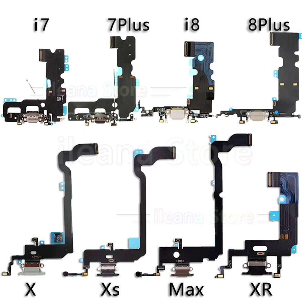 Bottom Dock Charging Flex For <font><b>iPhone</b></font> Xs Max X XR 7 <font><b>8</b></font> Plus USB Charger Port Dock <font><b>Connector</b></font> With Mic Flex Cable Replacement image