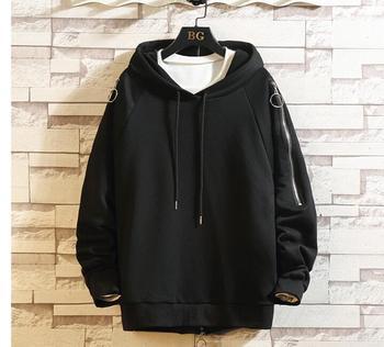New men's fashion hip hop zipper sweater winter and winter hoodies sweater men's hooded large size Korean version hoodies