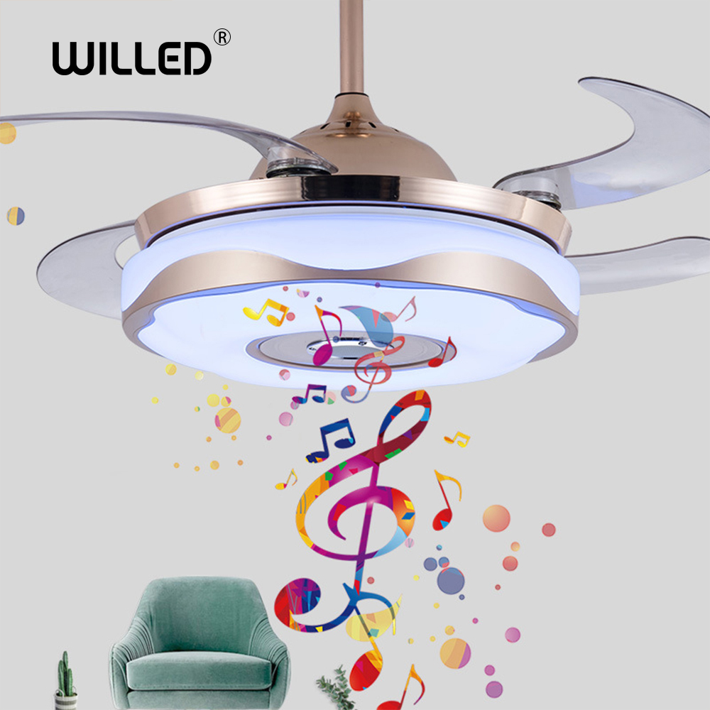Modern 36-inch/42-inch Invisible Fan Lamp 200v Mobile Phone APP Bluetooth Music Remote Control Home Restaurant Bedroom LED Light