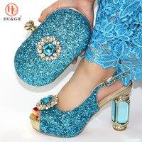 Sky Blue African Women Shoes and Bags To Match Set Diamond Heels Nigerian Women Wedding Sandals with Rhinestone Luxury Design