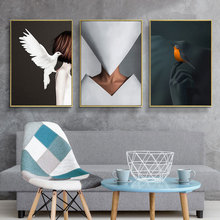 Black and White Bird Woman Home Decor Nordic Canvas Painting Wall Art Figure Picture Art Poster and Prints for Living Room Decor nordic bird canvas art prints and posters monochrome canvas painting wall art picture for living room home decor