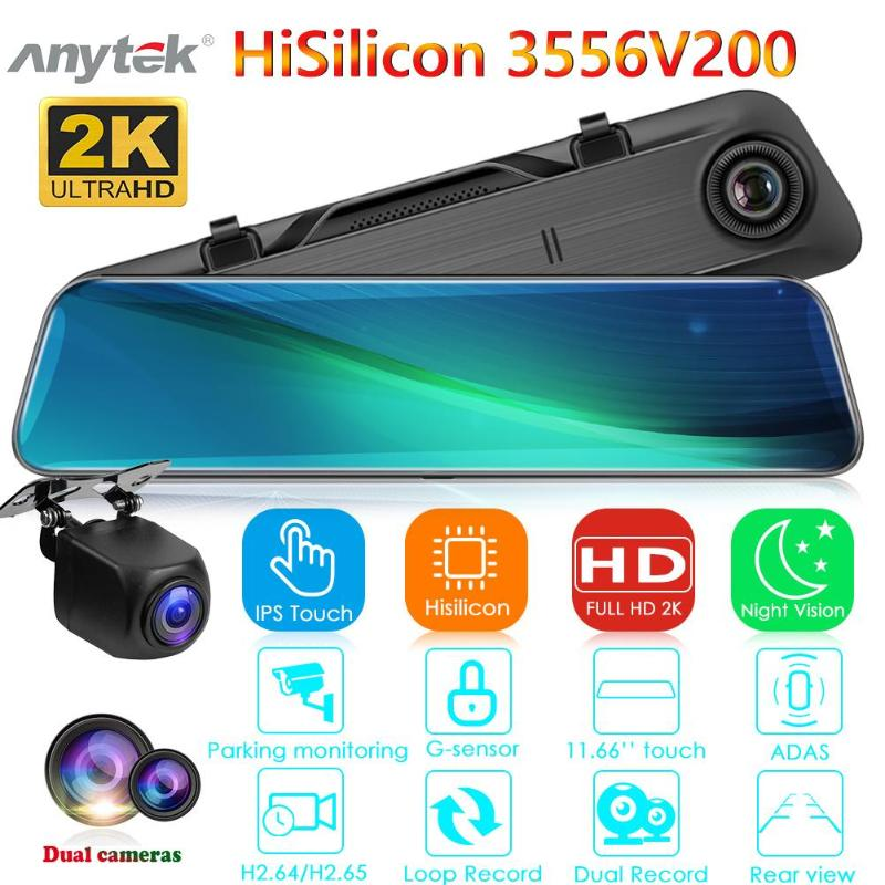 Anytek A9 Dash Cam DVR 1440p Dashcam 11.66 Inch IPS Car Camera Recorder Rearview Mirror Dual Lens ADAS Night Vision Video