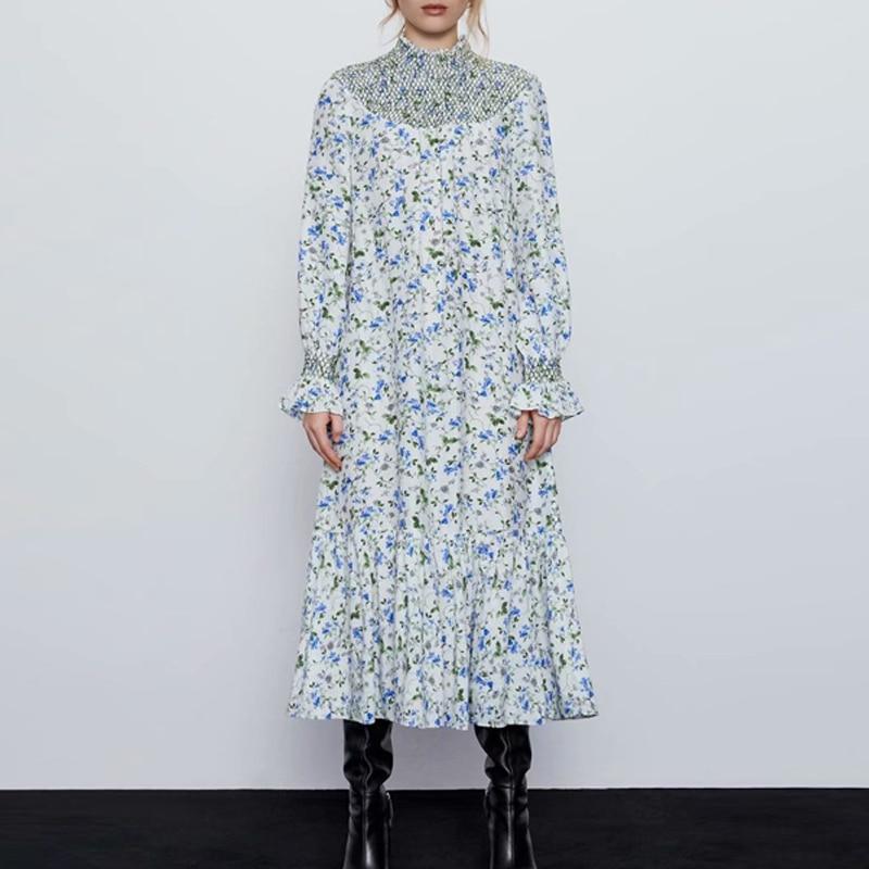 2020 Summer Women's Vintage Dress Long Sleeve Floral Print Vacation Style Dresses Female Elegant Chiffon Straight Loose Dress