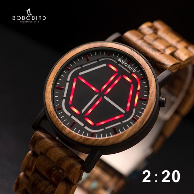BOBO BIRD LED 디스플레이 시계 남자 relogio masculino 나이트 비전 디지털 남성 시계 reloj hombre V P13