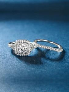 Image 2 - TKJ JEWELRY Fashion Set Rings With Big White Shiny Cubic Zircon 925 Silver 6.0mm 2pcs Wedding Ring Set for Women Gift