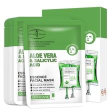 10 peças aloe & ácido salicílico máscaras faciais hidratante nutritivo anti-envelhecimento óleo-controle calmante iluminar reparação máscara facial