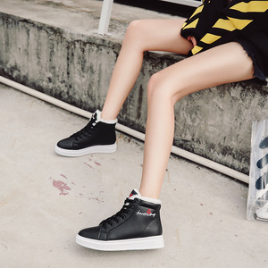 Image 4 - SWYIVY zapatos blancos para mujer, zapatillas de deporte de invierno, zapatos informales de plataforma, botas altas de invierno, botines femeninos, Top alto de piel de felpa 2019