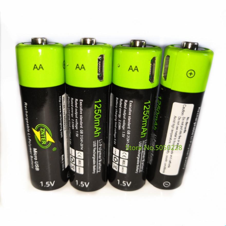 Bateria de Lítio de Carregamento Usb sem Cabo Lote Znter aa 1.5v Bateria Recarregável 1250mah Micro Usb 4 Pçs –