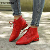 2020 Women Pointed Toe PU Leather Ankle Boots Lace Up Spring Ladies Fashion Short Plush Thick Low Heel Female Casual Shoes