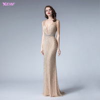 YQLNNE V Neck Nude Sleeveless Evening Dresses 2020 Long Mermaid Diamonds Beading Formal Evening Party Gown Backless