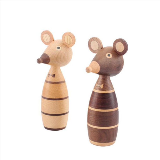 Wooden ornaments couple mouse creative home decoration porch puppet coffee shop decorative arts and crafts gift 6