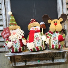 Christmas decorations display pure handmade flannelette cute new Santa Claus snowman elk doll window decoration