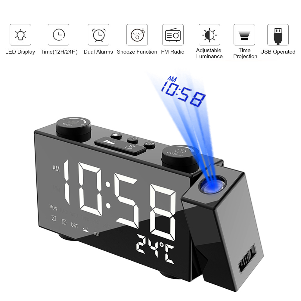 Image 2 - Digital FM Projection Radio Alarm Clock 3 Time Displays Dual Alarm Clock with Snooze Thermometer Clock USB/Batterys Powers-in Alarm Clocks from Home & Garden