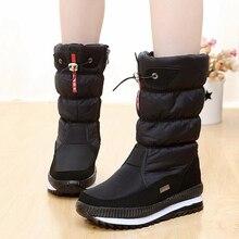 Новинка года; женские ботинки; зимняя обувь на платформе; толстые плюшевые Нескользящие Водонепроницаемые зимние ботинки для женщин; botas mujer